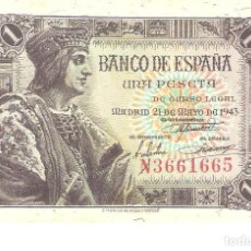 Billetes españoles: BILLETE DE ESPAÑA DE 1 PESETA DE 1943 CIRCULADO. Lote 189620260