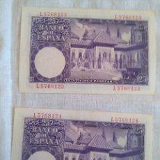Billetes españoles: BILLETES VEINTICINCO PESETAS 22 JULIO 1954 SERIE H Y I ISAAC ALBENIZ. Lote 189869475