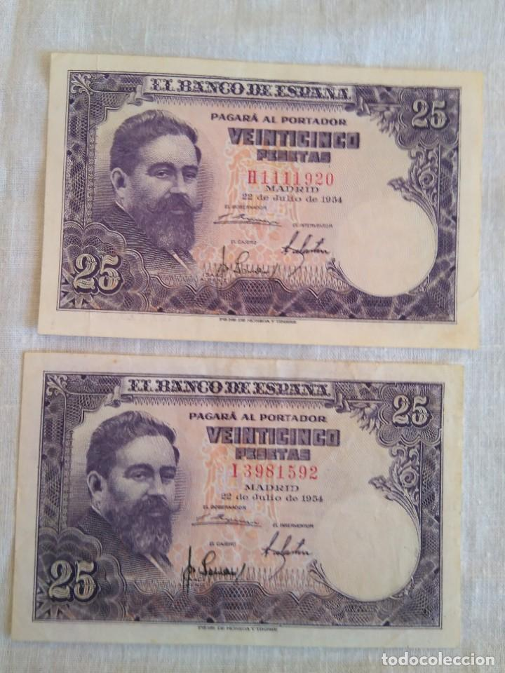 Billetes españoles: BILLETES VEINTICINCO PESETAS 22 JULIO 1954 SERIE H y I ISAAC ALBENIZ - Foto 2 - 189869475