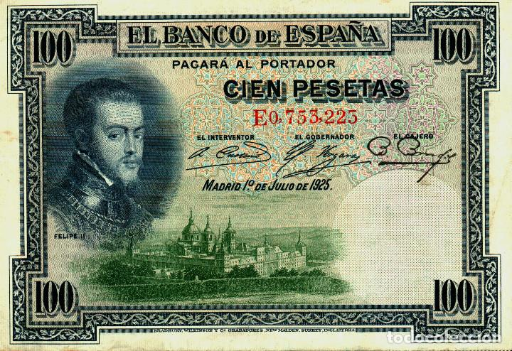 BILLETE CIEN PESETAS 1 JULIO 1925 - SERIE E0,753,225 (Numismática - Notafilia - Billetes Españoles)