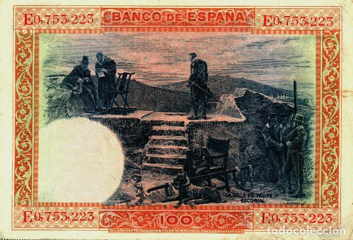 Billetes españoles: BILLETE CIEN PESETAS 1 JULIO 1925 - SERIE E0,753,225 - Foto 2 - 189913793