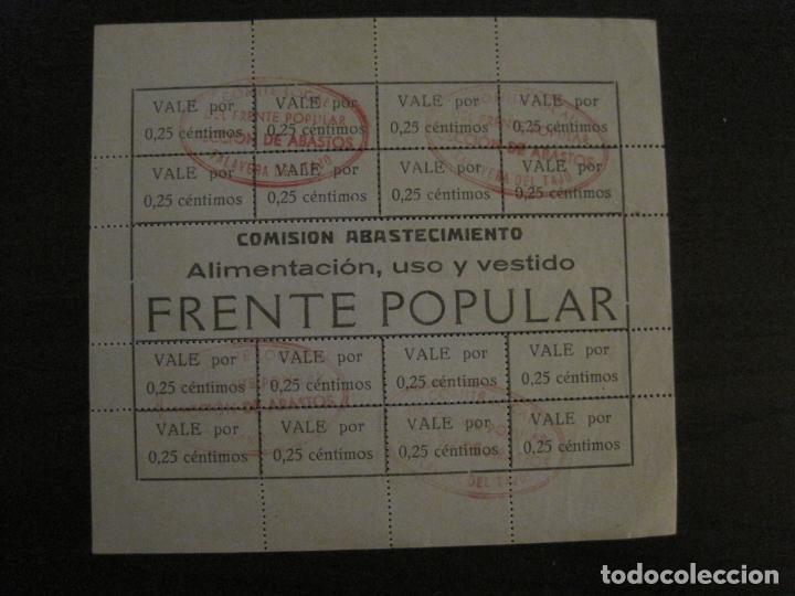 GUERRA CIVIL-COMISION ABASTECIMIENTO FRENTE POPULAR-VALES 0,25 CENTIMOS-VER FOTOS-(V-18.711) (Numismática - Notafilia - Billetes Españoles)