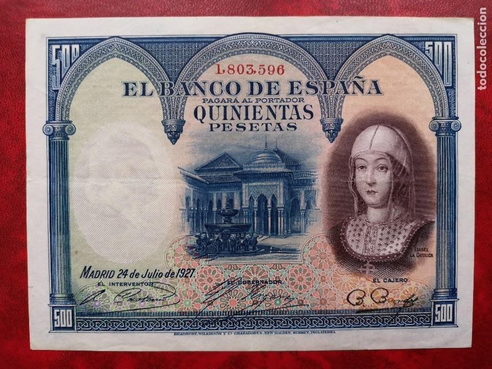 BILLETE 500 PESETAS MBC* BANCO ESPAÑA SIN SERIE 1.803.596 24 JULIO 1927 ISABEL LA CATOLICA RARO (Numismática - Notafilia - Billetes Españoles)