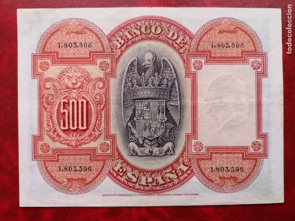Billetes españoles: BILLETE 500 PESETAS MBC* BANCO ESPAÑA SIN SERIE 1.803.596 24 JULIO 1927 ISABEL LA CATOLICA RARO - Foto 2 - 190207671