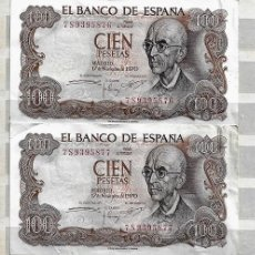 Billetes españoles: ESPAÑA,1970,MANUEL DE FALLA,2 EJEMPLARES EBC, CORRELATIVOS SERIE 7S. Lote 190305201