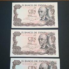 Billetes españoles: TRIO DE BILLETES DE 100 PESETAS DE MANUEL DE FALLA DEL AÑO 1970 S/C.CORRELATIVOS!. Lote 167972336