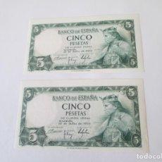 Billetes españoles: BILLETE * 5 PESETAS 22 DE JULIO DE 1954 * PAREJA CORRELATIVA PLANCHA. Lote 190631515
