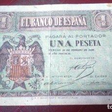 Billetes españoles: BILLETE 1 PESETA UNA 26 FEBRERO 1938. Lote 190692618