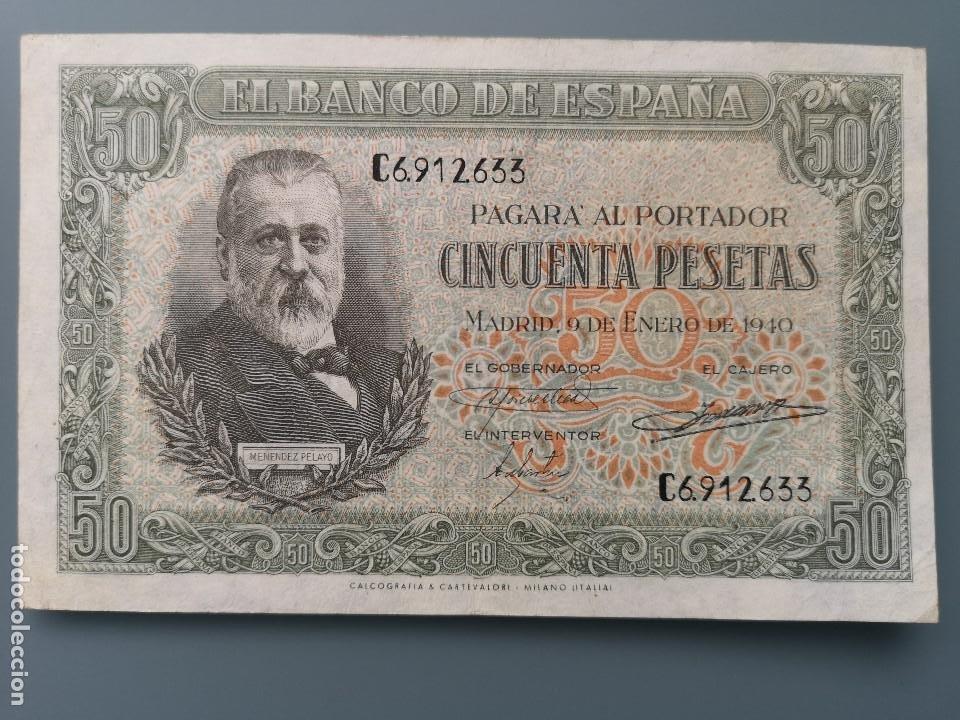 BILLETE 50 PESETAS BANCO ESPAÑA MADRID 1940 SERIE C MUY BUENA CONSERVACION MBC MENENDEZ PELAYO (Numismática - Notafilia - Billetes Españoles)