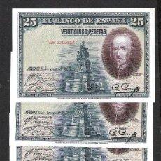 Billetes españoles: 6 BILLETES CORRELATIVOS 25 PESETAS 1928 SERIE E S/C. Lote 190829172