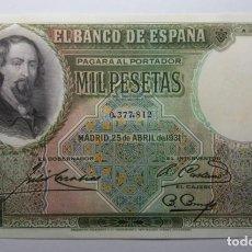 Billetes españoles: BANCO ESPAÑA. 1000 PESETAS AÑO 1931 . ZORRILLA. SC. Lote 184052518