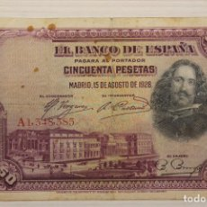 Billetes españoles: BILLETE 50 PESETAS, 1928, SERIE A 1,348,385. Lote 191041838