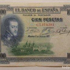 Billetes españoles: BILLETE 100, CIEN PESETAS, 1925, SERIE C 7,174,381. Lote 191042376