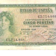 Billetes españoles: BILLETE DE ESPAÑA DE 5 PESETAS DE 1935 CIRCULADO. Lote 191053113
