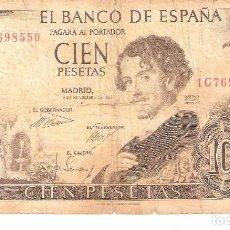 Billetes españoles: BILLETE DE ESPAÑA DE 100 PESETAS DE 1965 MUY CIRCULADO. Lote 191058302