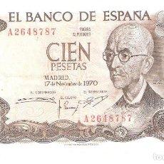 Billetes españoles: BILLETE DE ESPAÑA DE 100 PESETAS DE 1970 CIRCULADO. Lote 191058596
