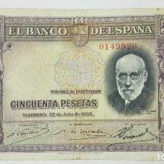 Billetes españoles: BILLETE BANCO DE ESPAÑA, 50 PESETAS, EMISION 1935, SIN SERIE . Lote 191071420