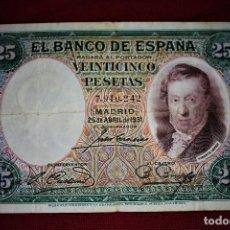 Billetes españoles: ESPAÑA 25 PESETAS 1931 VICENTE LÓPEZ RB 36. Lote 191118296