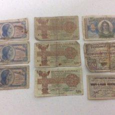 Billetes españoles: 9 BILLETES DE LA REPUBLICA. Lote 191123223