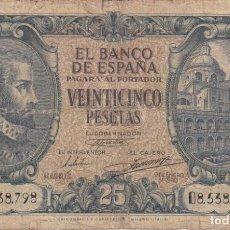 Billetes españoles: BILLETE DE 25 PESETAS DEL AÑO 1940 DE JUAN DE HERRERA SERIE D (DIFICIL). Lote 191208771