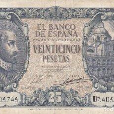 Billetes españoles: BILLETE DE 25 PESETAS DEL AÑO 1940 DE JUAN DE HERRERA SERIE D (DIFICIL). Lote 191208943
