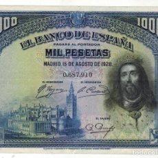 Billetes españoles: BILLETE DE 1000 PTAS. EMISION 15-8-1928 IMAGEN FERNANDO III EL SANTO. Lote 191243993