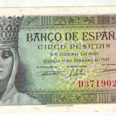Billetes españoles: BILLETE DE 5 PTAS. EMISIÓN 13-2-1943 IMAGEN ISABEL LA CATOLICA. Lote 191246106