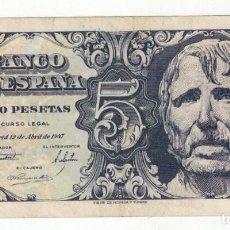 Billetes españoles: BILLETE DE 5 PTAS. EMISIÓN 12-4-1947 IMAGEN CABEZA DE SENECA. Lote 191246691