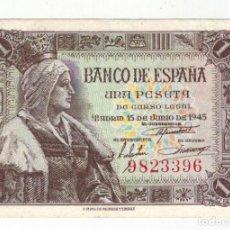 Billetes españoles: BILLETE DE 1 PTA. EMISIÓN 15-6-1945 IMAGEN ISABEL LA CATÓLICA. Lote 191249181