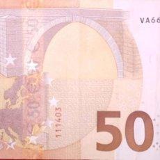 Billetes españoles: 50 EUROS DE LA TERCERA FIRMA DE DRAGHI DE LA VA, NÚMERO RARO VA6661111403, PLANCHA V006. Lote 191308181