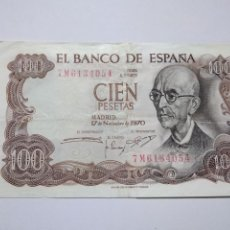 Billetes españoles: BILLETE 100 PESETAS 1970 MANUEL DE FALLA. Lote 191310097