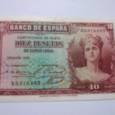 Billetes españoles: BILLETE 10 PESETAS 1935 CERTIFICADO PLATA. Lote 191310140