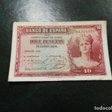 Billetes españoles: BILLETE 10 PTAS PESETAS AÑO 1935 SERIE NUMERO B0519079.. Lote 191339121