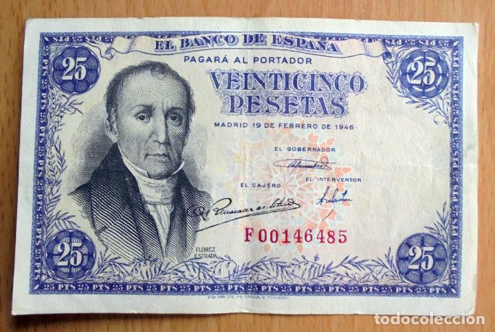 BILLETE VEINTICINCO PESETAS 25, BANCO DE ESPAÑA, 1946 (Numismática - Notafilia - Billetes Españoles)