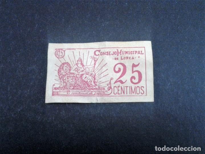 BILLETE LOCAL 25 CTS CONSEJO MUNICIPAL DE LORCA MURCIA,1937 (Numismática - Notafilia - Billetes Españoles)