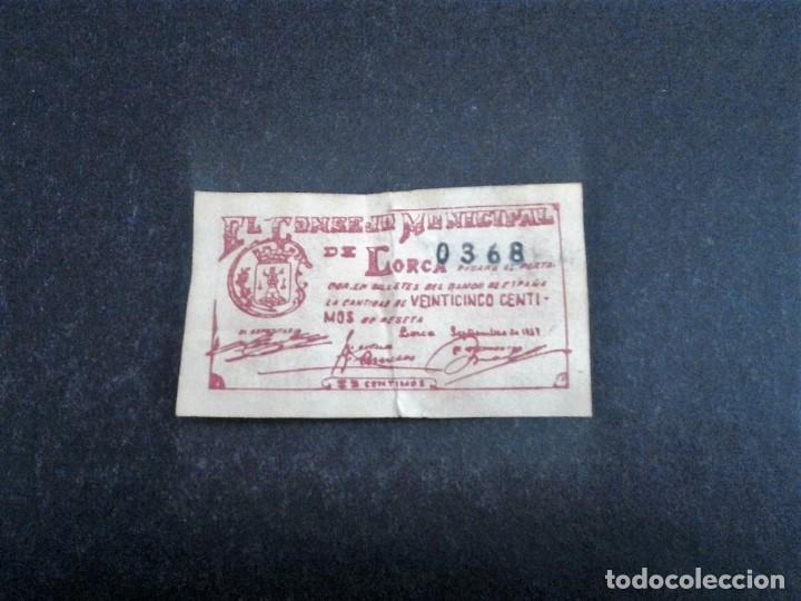 Billetes españoles: BILLETE LOCAL 25 CTS CONSEJO MUNICIPAL DE LORCA MURCIA,1937 - Foto 2 - 191642705