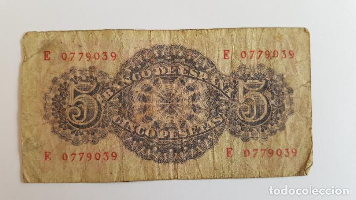 Billetes españoles: 1 BILLETE de 5 pesetas (1947) ¡Coleccionista! ¡Original! - Foto 2 - 191886940