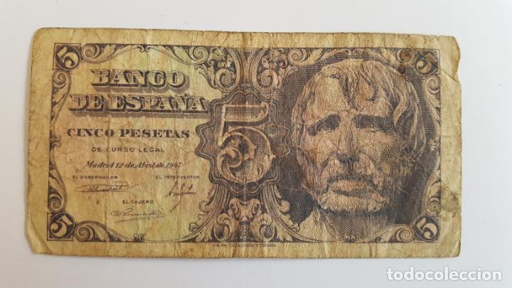 1 BILLETE DE 5 PESETAS (1947) ¡COLECCIONISTA! ¡ORIGINAL! (Numismática - Notafilia - Billetes Españoles)