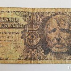Billetes españoles: 1 BILLETE DE 5 PESETAS (1947) ¡COLECCIONISTA! ¡ORIGINAL!. Lote 191886940