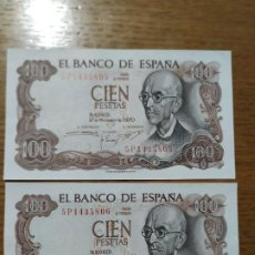 Billetes españoles: BILLETES 100 PTAS CORRELATIVOS.. Lote 191920942