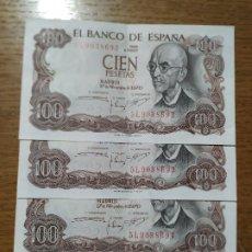 Billetes españoles: BILLETES 100 PTAS. AÑO 1970. CORRELATIVOS. Lote 191922975