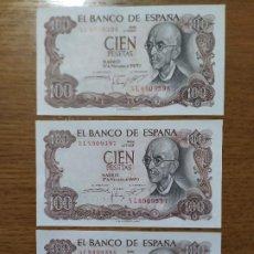 Billetes españoles: BILLETES 100 PTAS. AÑO 1970. CORRELATIVOS.. Lote 191925581