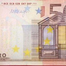 Billetes españoles: 50 EUROS CON LA TERCERA FIRMA DE DRAGHI DISEÑO ANTIGUO DEL 2002, PLANCHA M056A. Lote 191990492
