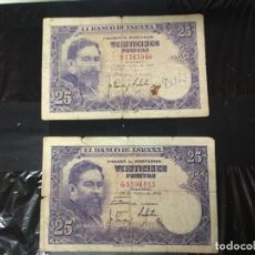 Billetes españoles: 2 BILLETES DE 25 PESETAS 1954.. Lote 192090293