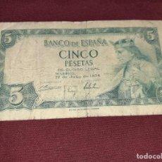Notas espanholas: 5 PESETAS DE 1954. Lote 192175133