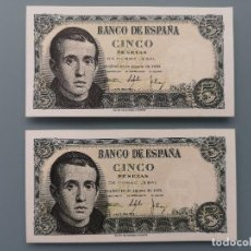 Billetes españoles: PAREJA 2 BILLETES CORRELATIVOS 5 PESETAS NUEVO PLANCHA S/C SERIE 1I 16 AGOSTO 1951 JAIME BALMES. Lote 192319705