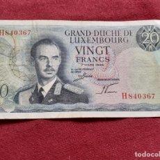 Billetes españoles: LUXEMBURGO. BILLETE DE 20 FRANCOS 1966. Lote 192350856