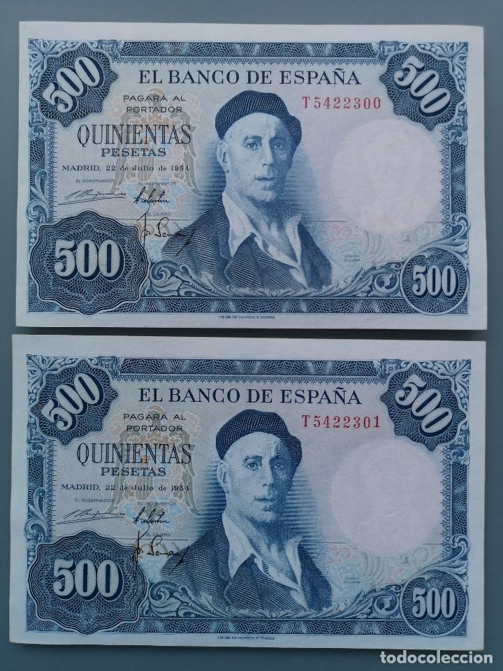 2 BILLETES 500 PESETAS PAREJA CORRELATIVA B ESPAÑA MADRID SERIE T PLANCHA NUEVO SIN CIRCULAR ZULOAGA (Numismática - Notafilia - Billetes Españoles)
