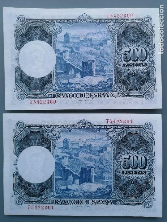 Billetes españoles: 2 BILLETES 500 PESETAS PAREJA CORRELATIVA B ESPAÑA MADRID SERIE T PLANCHA NUEVO SIN CIRCULAR ZULOAGA - Foto 2 - 192413791