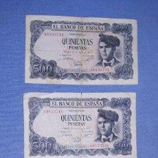 Billetes españoles: 3 BILLETES DE QUINIENTAS 500 PESETAS AÑO 1971 JACINTO VERDAGUER EN MUY BUEN ESTADO. Lote 192493996